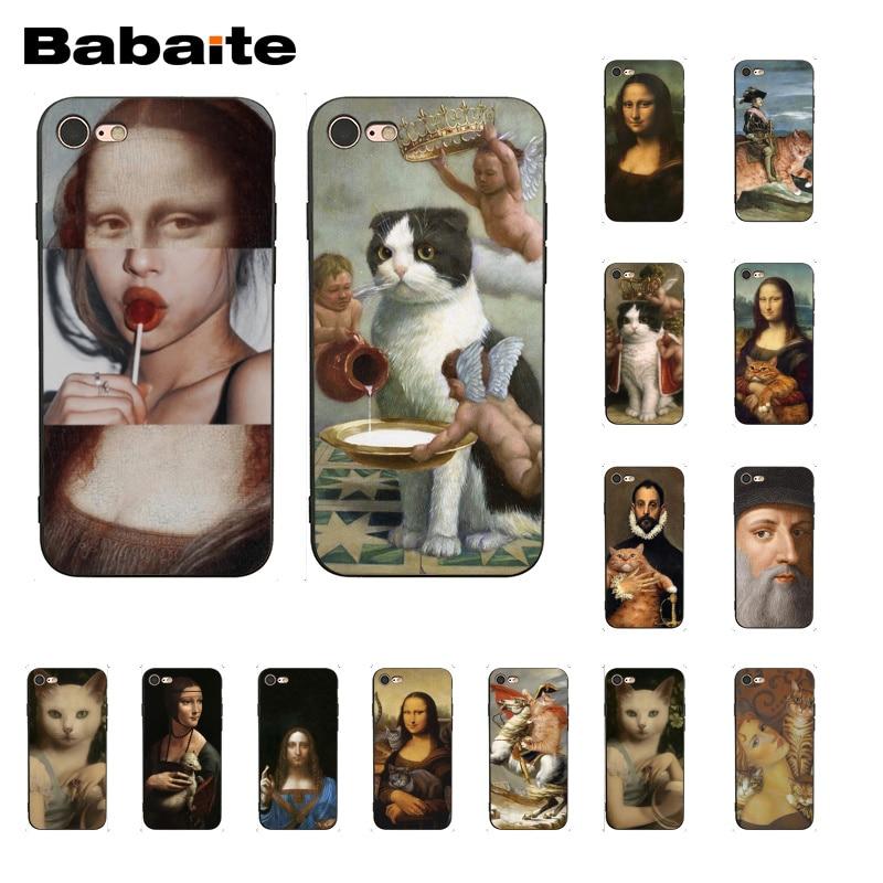 Babaite Funny Leonardo da Vinci Mona Lisa Pat Cat Art Aesthetics painting Phone Case for iPhone 8 7 6 6S Plus X XS MAX 5S SE XR