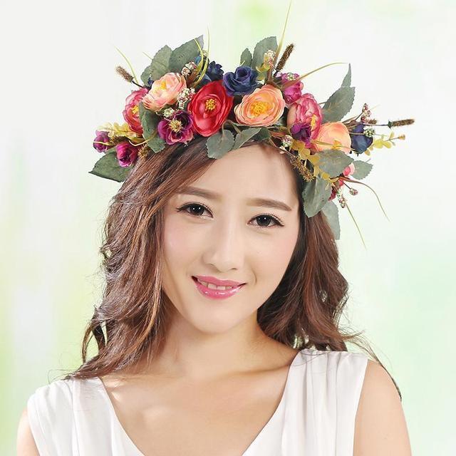Hot Women Beach Party Crown Bride Wedding Flower Wreath Crown Headband  Floral Headdress Flower Garland Hairband 093e7929c14