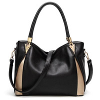 Shoulder Bags 2018 Black Luxury Handbags Women Bags Designer Casual Tote PU Leather Famous Brand Kabelky Soild Bag Classic