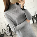 2016 Autumn and Winter Women Above Knee Mini Pullover Sweater Dress Female Half Turtleneck Slim Knitwear Woman Clothing