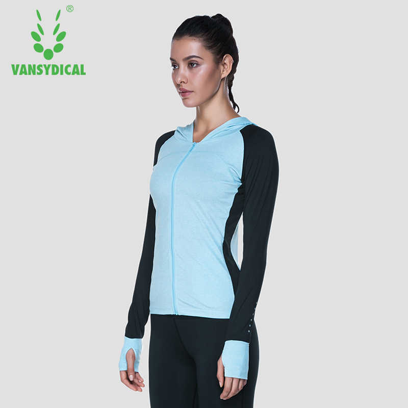 女性ランニングジャケットシャツフード付きスリムスポーツトップスジッパーエクササイズバンドジムフィットネス長袖 Vansydical スポーツウェア