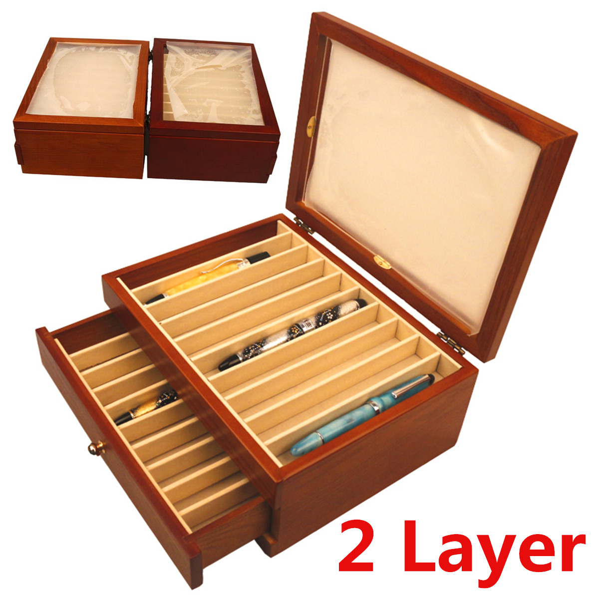 2 Layer Large-capacity Wooden Pen Box Wood Pen Box Fountain Pen Pencil Case Display Storage Wood Case 20 Pens Holders2 Layer Large-capacity Wooden Pen Box Wood Pen Box Fountain Pen Pencil Case Display Storage Wood Case 20 Pens Holders