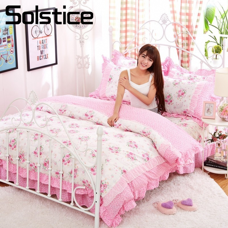 Solstice Home Textiles Pink White Lace Bedding Sets Floral Girls Bedspread Duvet Cover Pillowcase Bed Sheet King-Twin Size 4Pcs