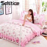 Solstice Home Textiles Pink White Lace Bedding Sets Floral Girls Bedspread Duvet Cover Pillowcase Bed Sheet King Twin Size 4Pcs