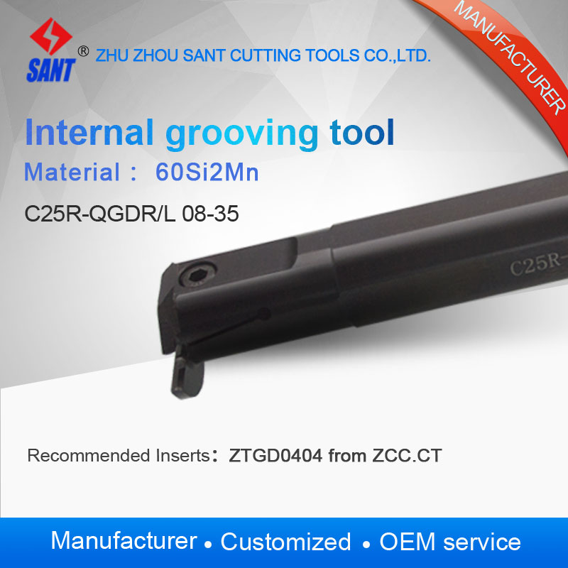 Zhuzhou SANT Internal grooving and turning tool holder C25R QGDL08 35/C25R QGDR08 35 with suggested insert ZTGD0404 MG|turning tool holder|turning holder|grooving tool holder - title=