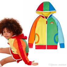 2016 New Arrival Sweet Kids Rainbow Colorful Jackets Hoodie Outwears Zipper Design Boys and Girls Fall Fashion Outwears