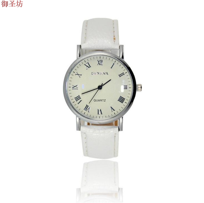 Geneva Leather Strap Roman Scale Ladies Quartz Watch Relojes Mujer 2017 Bayan Saat Relogio Feminino Women Watches Clock Uhr B88 new geneva ladies fashion watches women dress crystal watch quarzt relojes mujer pu leather casual watch relogio feminino gift