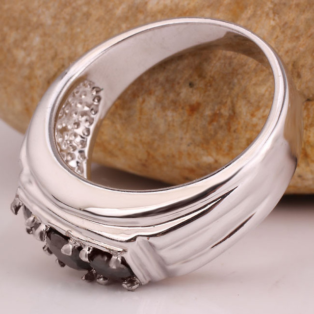 Men Genuine 925 Sterling Silver Ring 3-stone Design Jewelry Heavy Feel Sizes R519 Birthday Gift Christmas