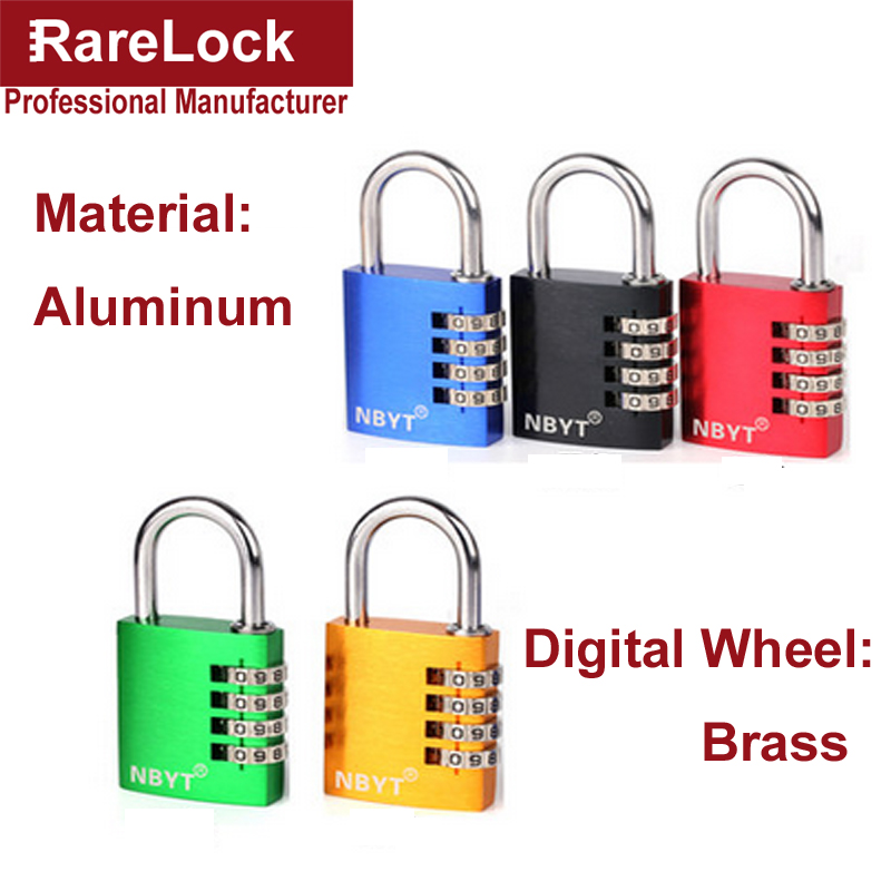 цена на Rarelock 4 Color Aluminum Padlock Door Cabinet Box Game Luggage Fitness Center Locks Code Combination Digital Password Lock a