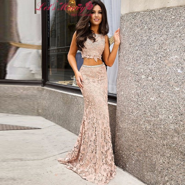WDZ 228 Light Pink Pattern Crystal Prom Dresses 2 Pieces Dress Mermaid Homecoming Lace