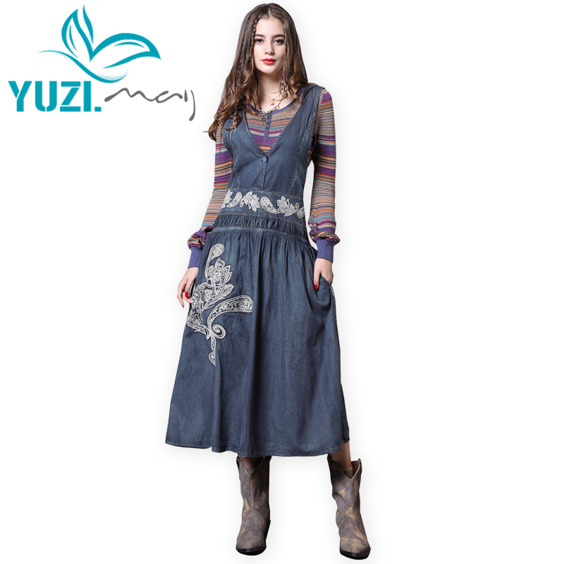 Dress Women 2018 Yuzi may Boho New Denim Dresses Hooded Vintage Embroidery V Neck Loose A