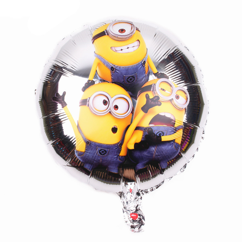 1Pcs/lot Minions <font><b>18</b></font> inch Round Foil Helium Air Balloon Kid Toys Balloon Birthday Wedding Party Decoration Balloons image