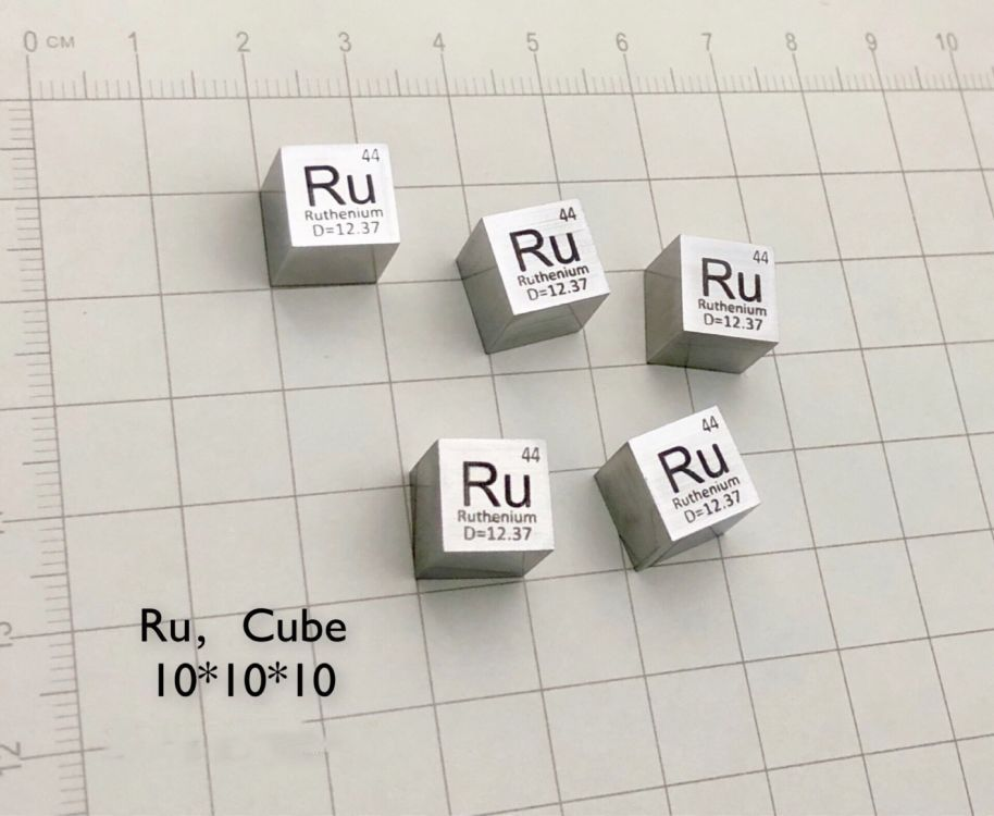 99.95% High Purity Ruthenium Ru 12.6g Carved Element Periodic Table 10mm Cube ruthenium based fischer tropsch synthesis