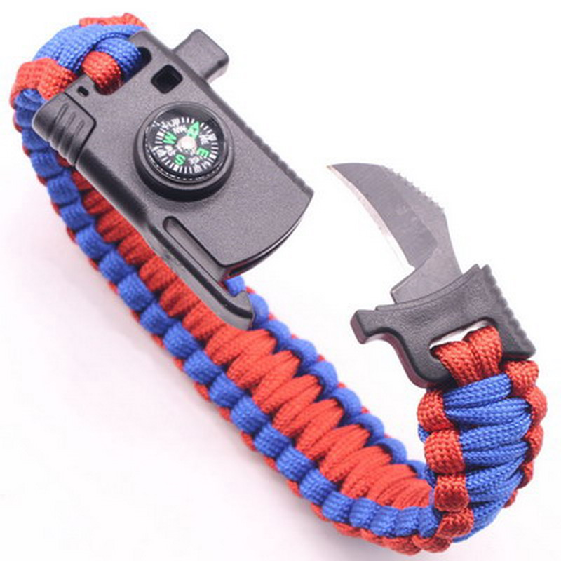 Cool Outdoor Survival Bracelet Men Women Braided Multifunction Camping Rescue Emergency Rope Bangles Compass Whistle Knife