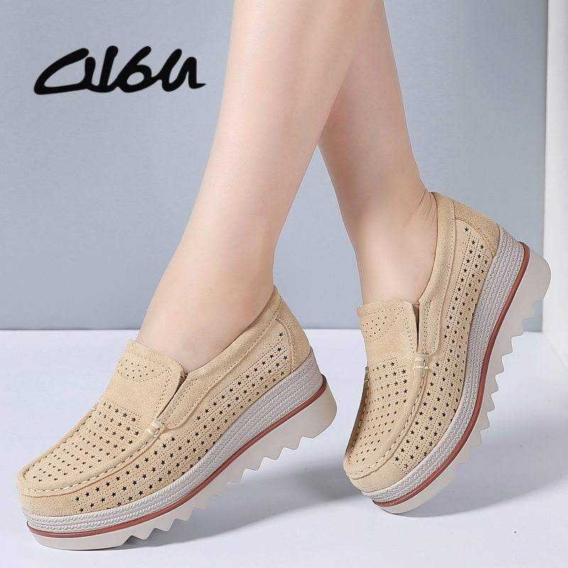 O16U Sneakers Women Flat Platform Shoes Flats Women Cut out Suede Leather Slip on Thick Heels