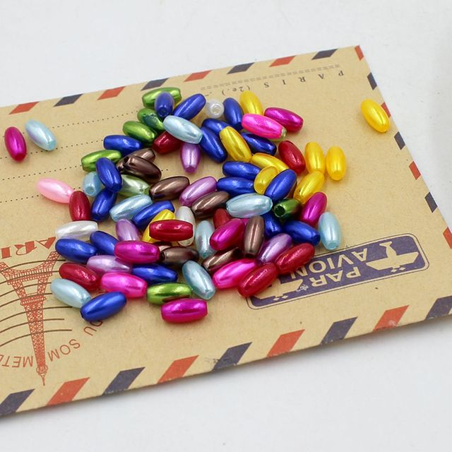 Nouveau 4x8mm 200 Pcs/Lot riz forme multi-couleurs Imitation perles perles artisanat décoration pour bracelets à faire soi-même colliers fabrication de bijoux