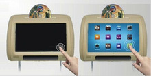 Venta al por mayor 2 unids/lote 9 pulgadas pantalla táctil Digital de coches reproductor de DVD reposacabezas HD Monitor con IR para auriculares inalámbricos