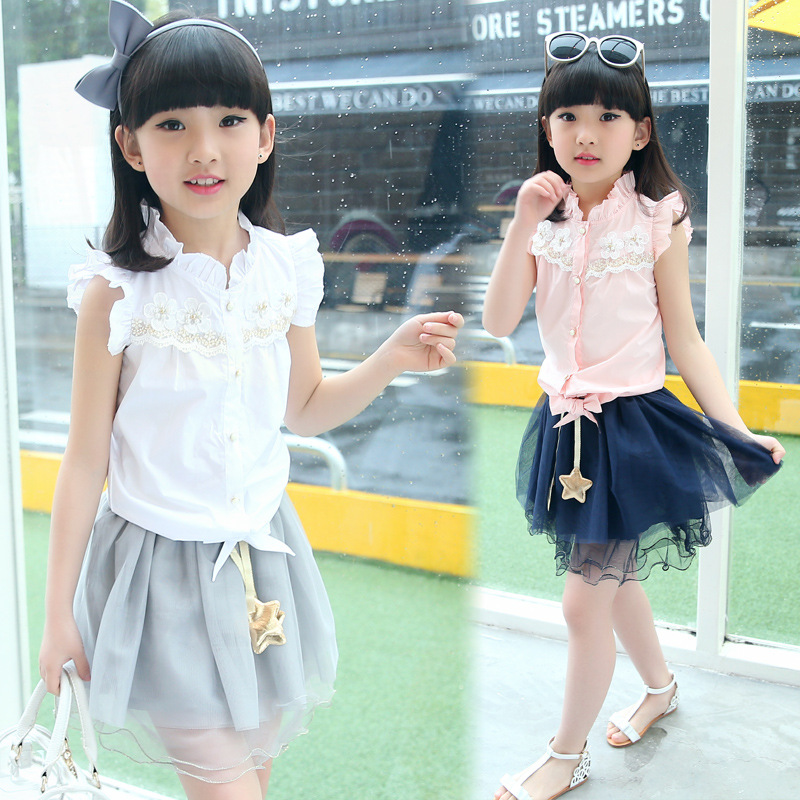 Two-piece Suit!2017 New Summer girls fashion suit big virgin sleeveless T-shirt and Skirt suit Kids Clothes Girls Clothes Suit
