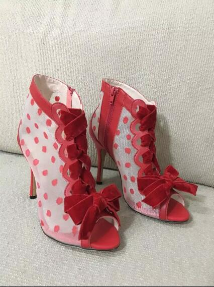 Women high heel sandals with peep toe air mesh butterfly-knot decoration women' shoes for the Summer red party ladies sandals