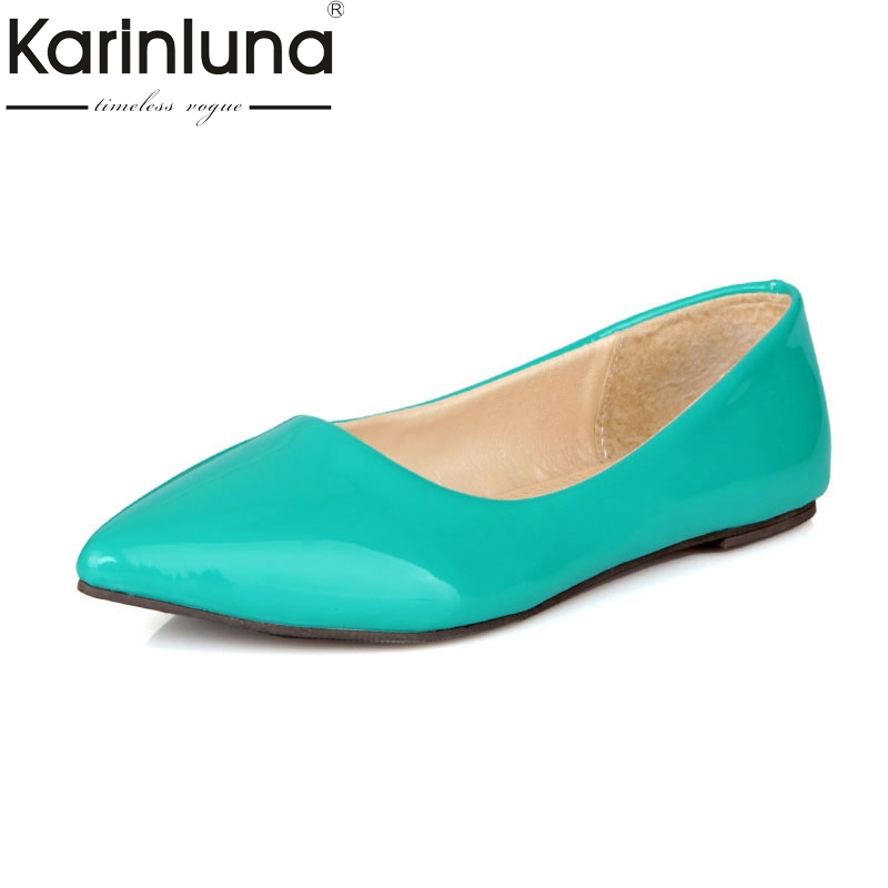 KarinLuna High Quality Large Size 30-49 Fashion Shoes Flats Woman Candy Color Slip On Pointed Toe Flats Comfortable Shoes Women