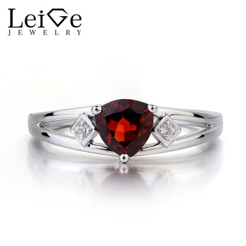 Leige Jewelry Natural Red Garnet Ring Wedding Ring January Birthstone Red Gems Trillion Cut Gemstone 925 Sterling Silver Ring