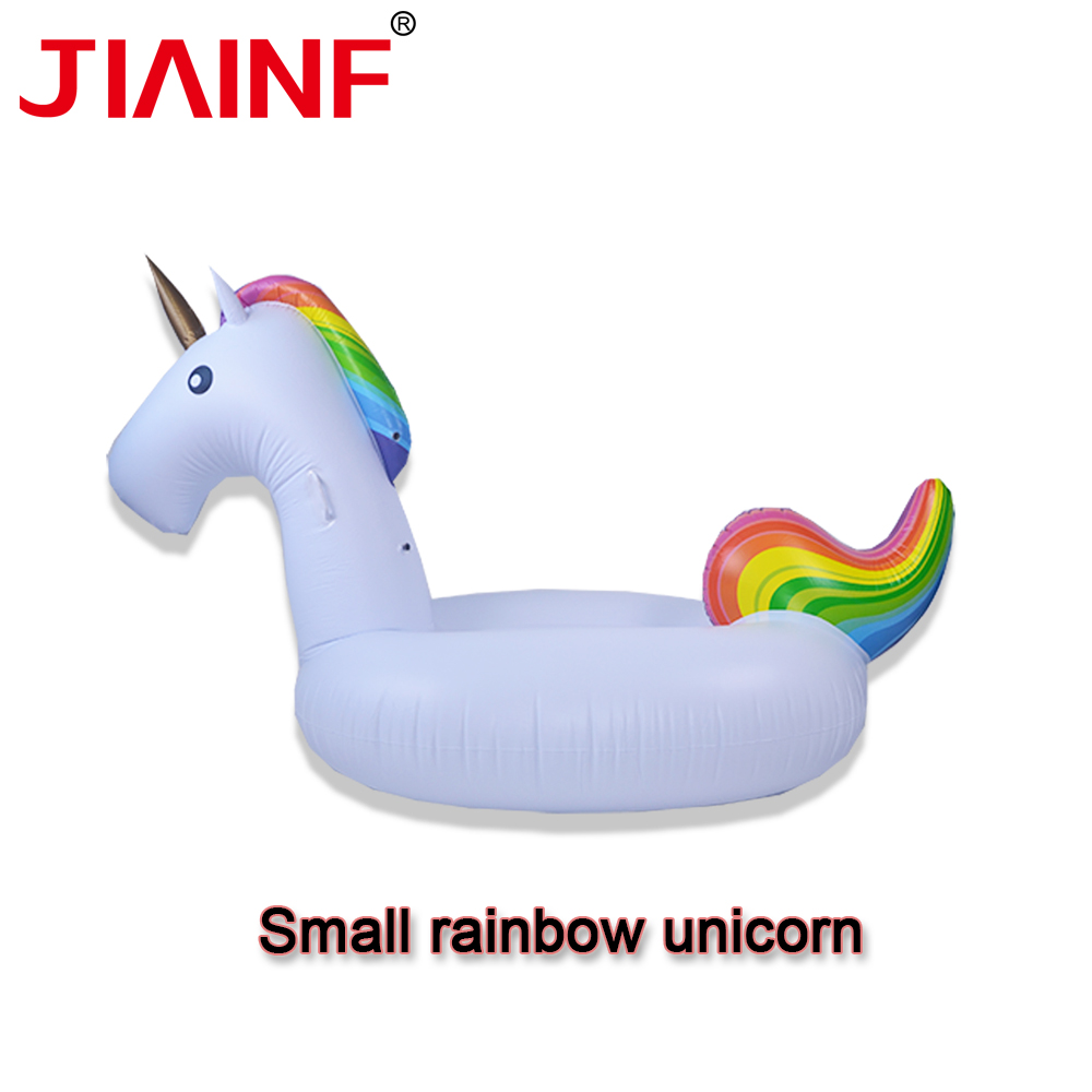 JIAINF 2019 New Inflatable Rainbow Unicorn Floating Row Swimming Pool Float Island Party Toys For Adults Unicorn Water Float