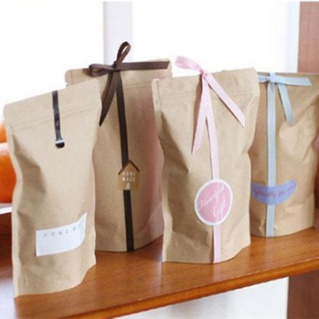 Aliexpress Buy Standup Greaseproof Craft Paper Gift Bags Food