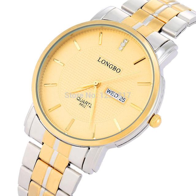 Marca LONGBO Relógio de Diamantes de Luxo Mens Horas Reloj Hombre relógios de Pulso Das Mulheres Do Vintage de Ultra Fino Ouro Relogios Feminino Modas