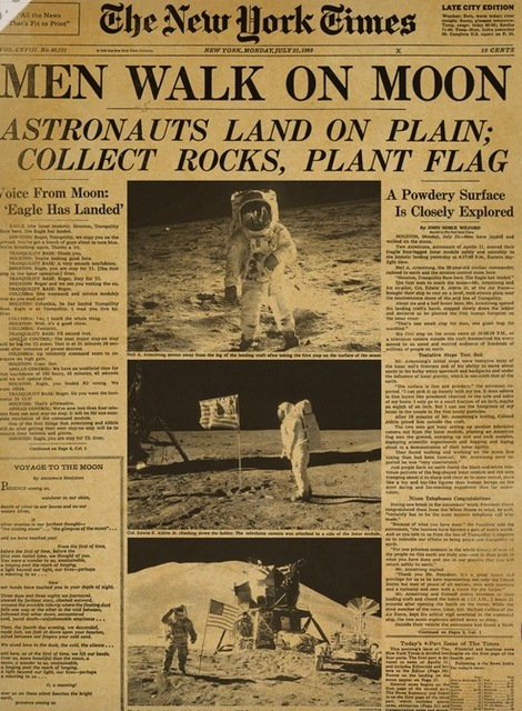 Man Walk On Moon Astronaut New York Times Poster Decorative