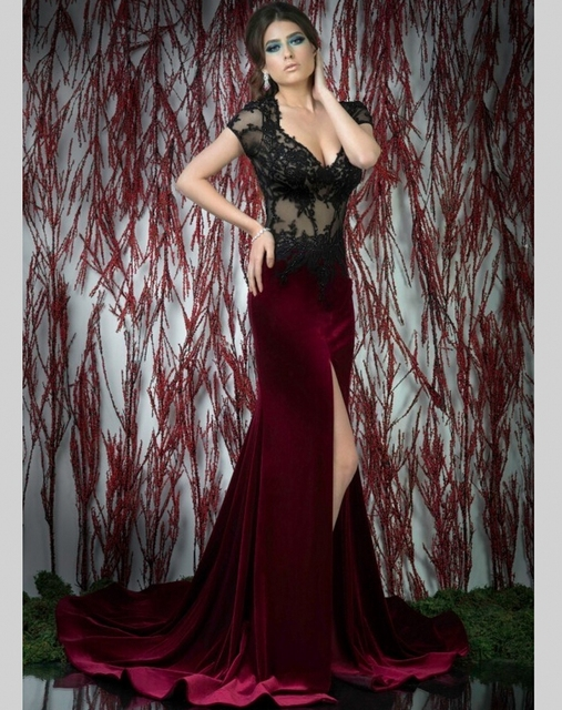 Burgundy Side Slit Evening Dress Mermaid Lace Court Train Velour ...