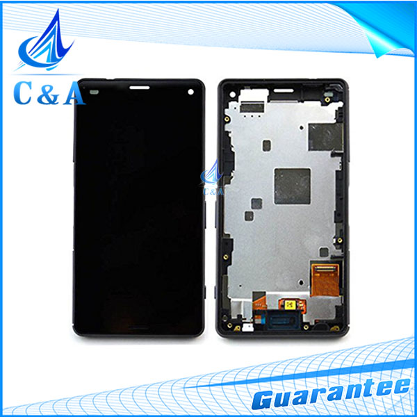 10 pcs DHL/EMS post replacement parts 4.6 screen for Sony Xperia Z3 Compact Z3 mini lcd display with touch digitizer+frame