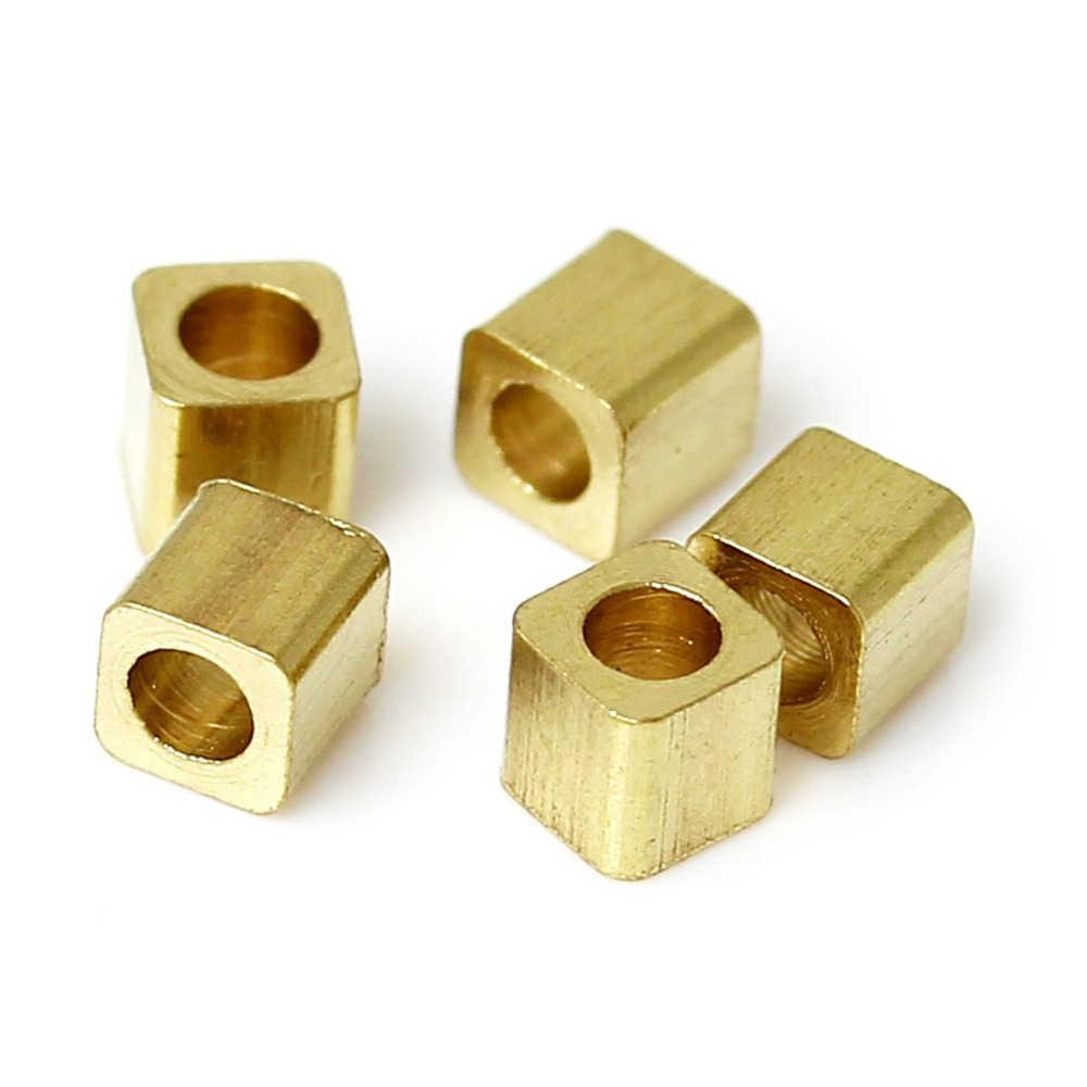 DoreenBeads, высококачественные медные бусины кубической формы, светло-золотые, сделай сам, фурнитура около 2 мм x 2 мм, отверстие: около 0,5 мм, 50 шт., новинка 2017 года