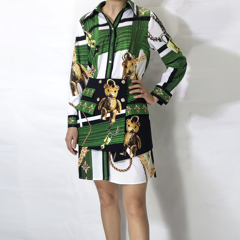 Panda Moda Las De Falda Verde Mujeres Piezas Alta Dos Calidad Conjuntos Mini Manga Blusas Larga Camisa Vintage Diseño qSZwtw