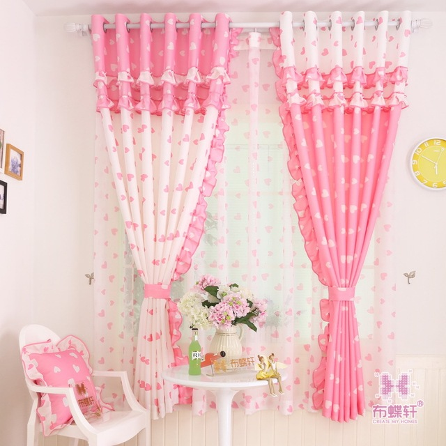 Curtains For Living Room Bedroom Garden Sweet Princess Children Girl Room  Pink Heart Print Lace Cute