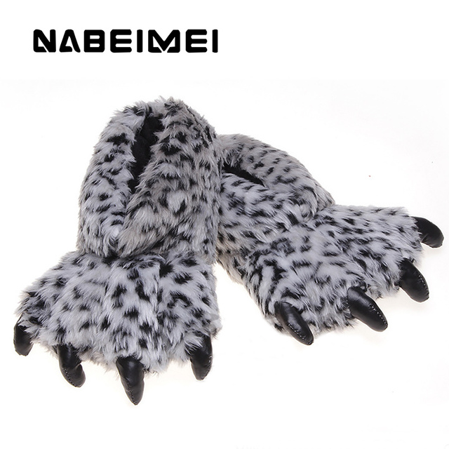 Bear claw funny slipper 2017 new arrival sexy leopard ladies slippers synthetic winter warm shoes woman large size 36-41