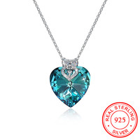 2018 New Luxury Blue Crystal Ocean Heart Pendant with Colorful Zircon Owl Necklaces S925 Sterling Silver Jewelry Lover's Gift