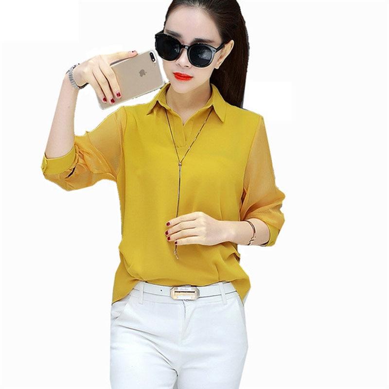 M-3XL Plus Size Women Spring Summer Style Chiffon Blouses Shirts Casual Turn-down Collar White Red Blusas Tops Feminina DF1534