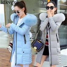 2019 mulheres jaquetas de inverno para baixo casaco com capuz de algodão plus size parkas mujer casacos casaco longo moda feminina gola de pele casacos a1297