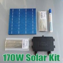170W DIY Solar Panel Kit 6x6 156 Polycrystalline Poly solar cell tab wire Bus wire Flux