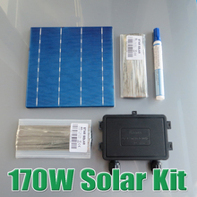 170W DIY Solar Panel Kit 6×6 156 Polycrystalline Poly solar cell tab wire Bus wire Flux pen Junction Box WY