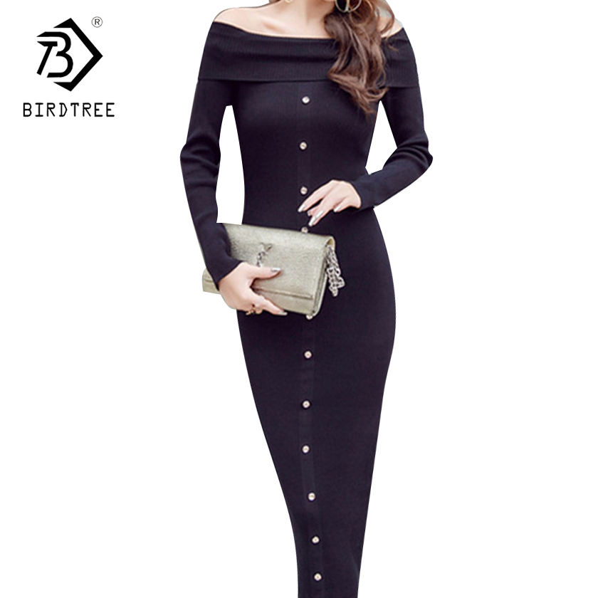 Fall Women Long Sleeves Off Shoulder Two Wear Bodycon Single Breasted Midi Dress Sexy Slash Neck Knitted Sweater Dresses D7N421A white off shoulder long sleeves fuzzy sweater