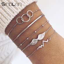 Sindlan 5PCs Silver Ecg Bracelets Set Boho Bangles Wing Char