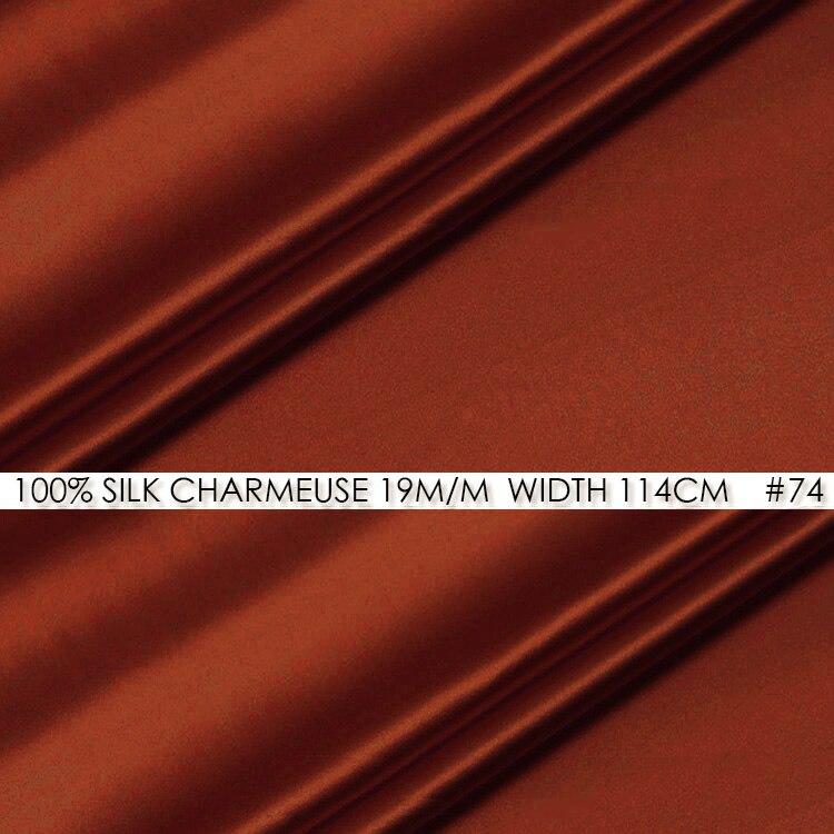 SOIE CHARMEUSE SATIN 114 cm largeur 19 momme/100% Pure Soie Du Mûrier Tissu/Chine Soie Tissu Fournisseurs Suger rouge N ° 74