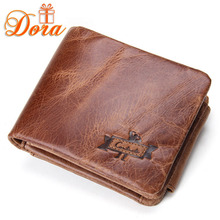 100% Genuine leather men wallets famous brands coin pocket short purse high quality crazy horse leather money clip brown Retro