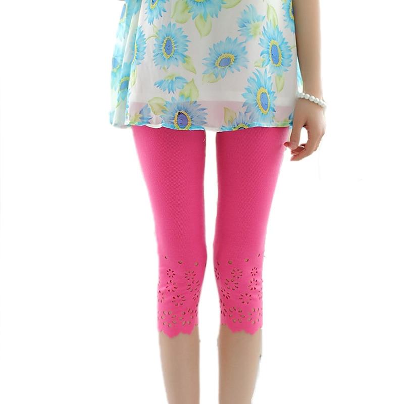 Summer Women Elastic Short   Leggings   Cotton Knitted Hollow Out Flower Pants Female Cute Short   Leggings   Solid Pants Safty