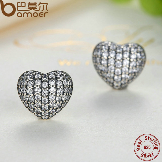 Sterling Silver In My Heart Pave Stud Earrings