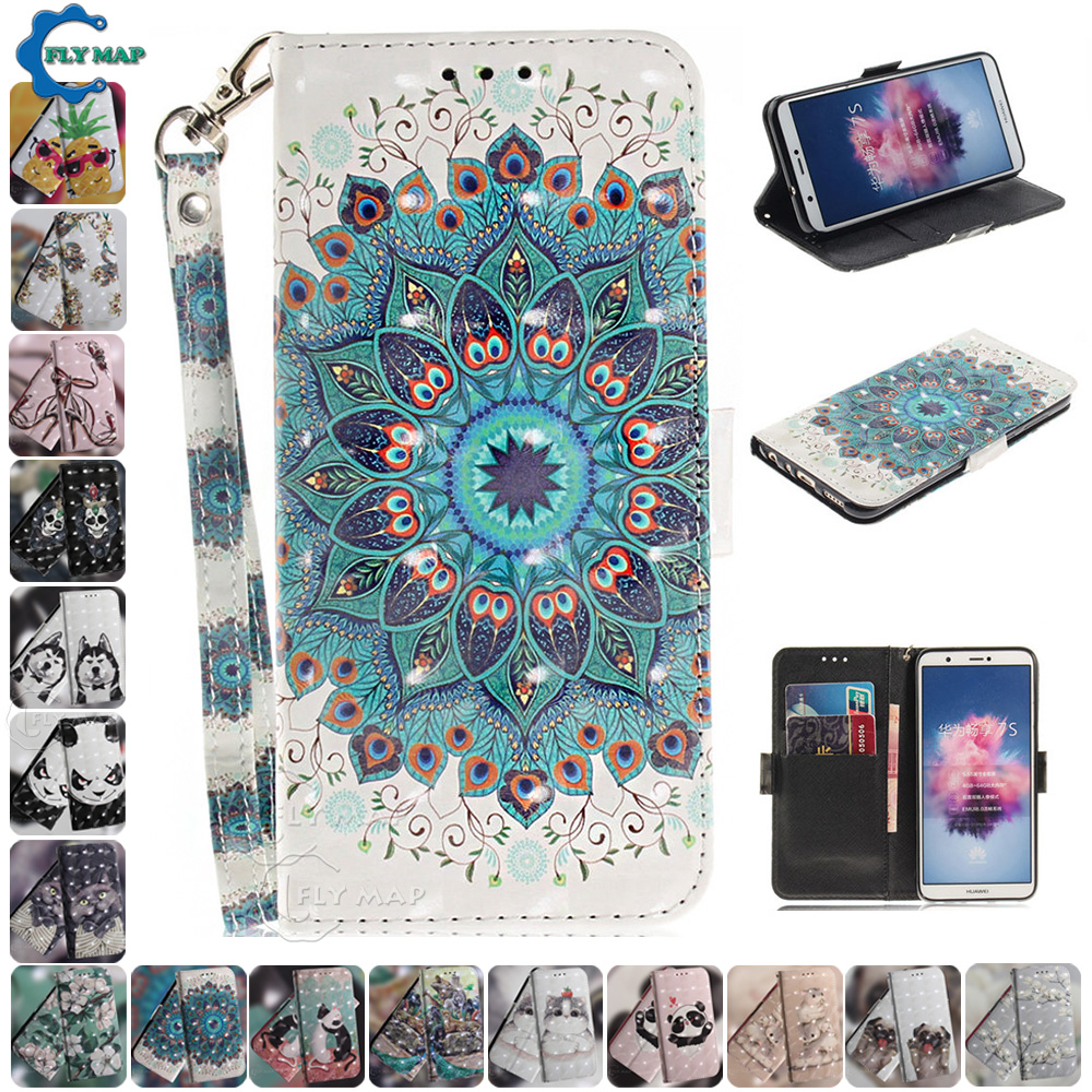 3D <font><b>Flip</b></font> <font><b>Case</b></font> for <font><b>Huawei</b></font> <font><b>P</b></font> <font><b>Smart</b></font> <font><b>2018</b></font> 2019 FIG Pot LX1 LX3 Silicone Wallet Phone Leather Cover PSmart Z SmartZ <font><b>Smart</b></font>+ Plus 2019 image