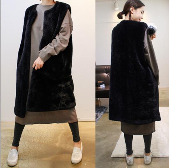 Vestes Black Artificielle Q975 Vison En Mink Faux Hiver Femmes Femme Manteau Gilets Long Gilet 2019 Veste De Fourrure 67A6x1q