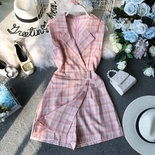 NiceMix Womens Jumpsuit Female Summer Clothing 2019 New Chic Plaid Suit Neck Sleeveless Waist Slim Legs Overalls for Women