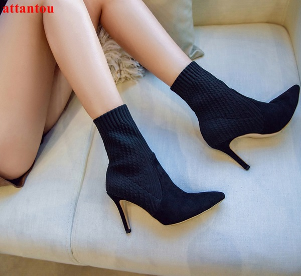 2018 spring fashion breathable knitting black woman ankle boots elegant female elastic short boots pointed toe thin heel design